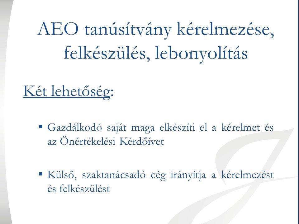 AEO tanúsítvány kérelmezése, felkészülés, lebonyolítás Két lehetőség:  Gazdálkodó saját maga elkészíti el a kérelmet és az Önértékelési Kérdőívet  K