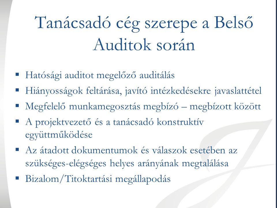 Tanácsadó cég szerepe a Belső Auditok során  Hatósági auditot megelőző auditálás  Hiányosságok feltárása, javító intézkedésekre javaslattétel  Megf