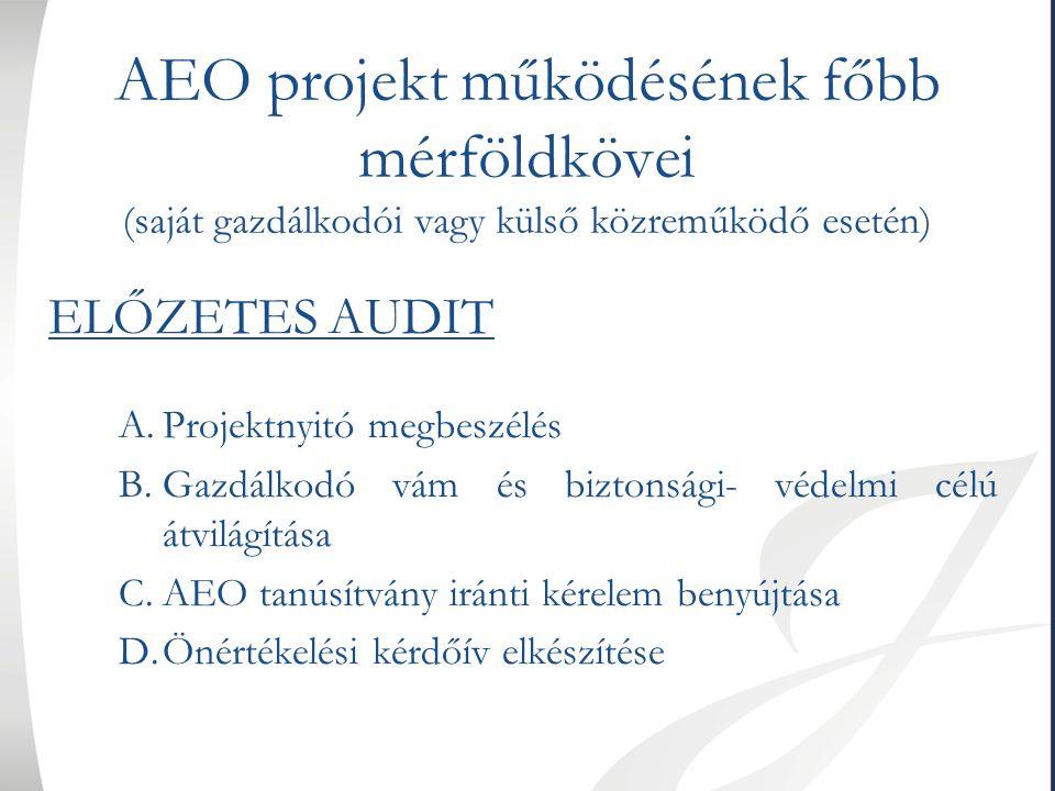 AEO projekt működésének főbb mérföldkövei (saját gazdálkodói vagy külső közreműködő esetén) ELŐZETES AUDIT A.Projektnyitó megbeszélés B.Gazdálkodó vám