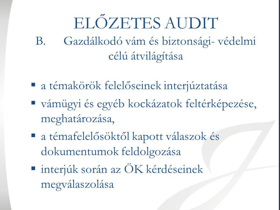 ELŐZETES AUDIT C.AEO tanúsítvány iránti kérelem benyújtása  1C formanyomtatvány kitöltése  a 10 db melléklet- elkészítése, csatolmányokkal ellátása  előzetes konzultáció a vámhatóság kijelölt szakemberével  kérelem benyújtása a vámhatóság részére