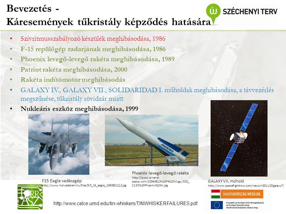 Bevezetés - Káresemények tűkristály képződés hatására Szívritmusszabályozó készülék meghibásodása, 1986 F-15 repülőgép radarjának meghibásodása, 1986 Phoenix levegő-levegő rakéta meghibásodása, 1989 Patriot rakéta meghibásodása, 2000 Rakéta indítómotor meghibásodás GALAXY IV., GALAXY VII., SOLIDARIDAD I.