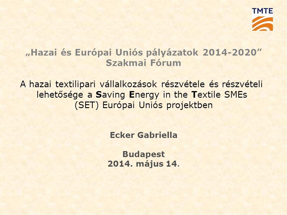 """""""Hazai és Európai Uniós pályázatok 2014-2020 Szakmai Fórum A hazai textilipari vállalkozások részvétele és részvételi lehetősége a Saving Energy in the Textile SMEs (SET) Európai Uniós projektben Ecker Gabriella Budapest 2014."""