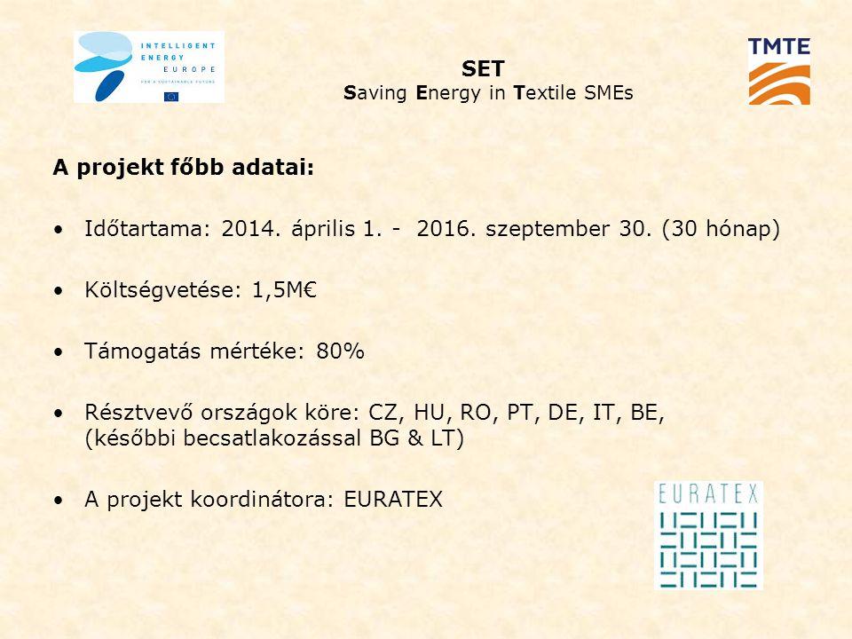 SET Saving Energy in Textile SMEs A projekt főbb adatai: Időtartama: 2014.