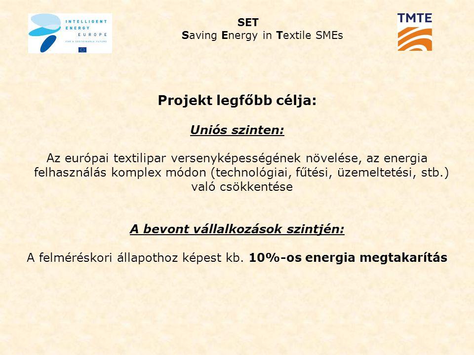 Projekt legfőbb célja: Uniós szinten: Az európai textilipar versenyképességének növelése, az energia felhasználás komplex módon (technológiai, fűtési, üzemeltetési, stb.) való csökkentése A bevont vállalkozások szintjén: A felméréskori állapothoz képest kb.