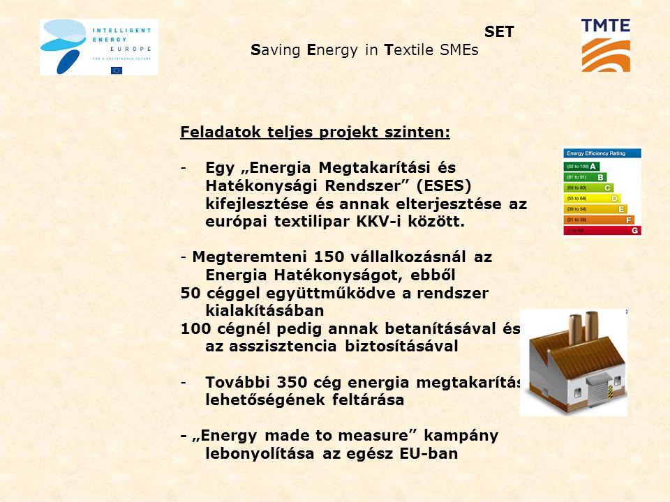 """SET Saving Energy in Textile SMEs Feladatok Magyarországra vonatkoztatva: -Egy """"Energia Megtakarítási és Hatékonysági Rendszer (ESES) kifejlesztése (magyar szakértő delegálása) és annak elterjesztése a hazai textilipar KKV-i között."""