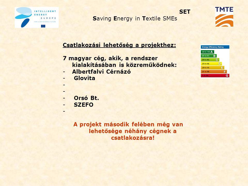 SET Saving Energy in Textile SMEs Csatlakozási lehetőség a projekthez: 7 magyar cég, akik, a rendszer kialakításában is közreműködnek: -Albertfalvi Cérnázó - Glovita - - Orsó Bt.