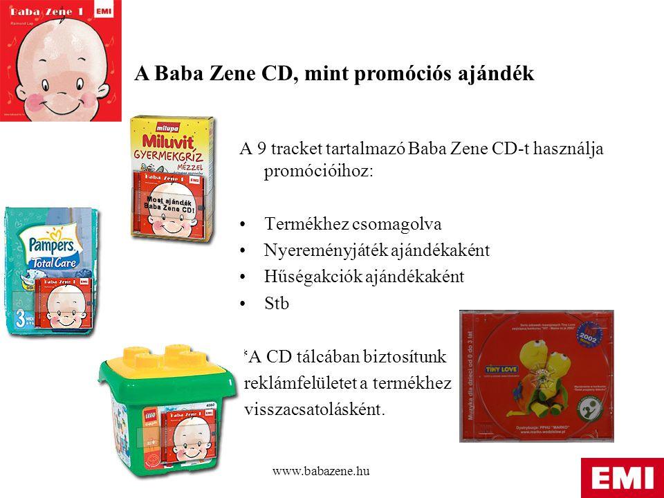 www.babazene.hu A 9 tracket tartalmazó Baba Zene CD-t használja promócióihoz: Termékhez csomagolva Nyereményjáték ajándékaként Hűségakciók ajándékaként Stb *A CD tálcában biztosítunk reklámfelületet a termékhez visszacsatolásként.