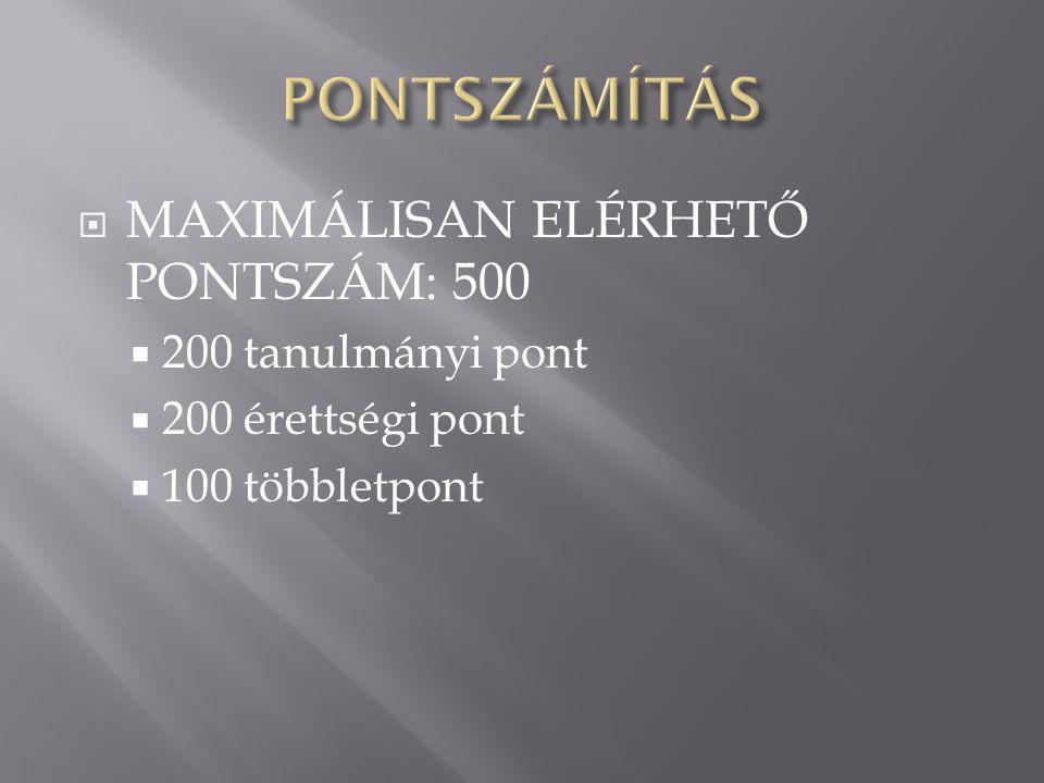  A középiskolai tanulmányok alatt kapott érdemjegyekből számított pontok.(max 100)  (3,5+5+4+3+5) + (4+5+4+4+5) =42,5 x 2 =85 pont  Természettud.