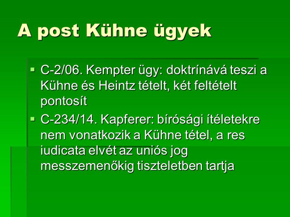 A Kühne tétel a magyar jog fényében  A magyar jogban nincs olyan jogi lehetőség, amely alkalmazhatóvá tenné a Kühne tételt  Az újrafelvételi eljárás alkalmazása a Kühne további feltételei miatt kizárt (jogerős bírósági határozat, mellyel szemben már nincs jogorvoslati lehetőség)  Az ítélet nem is követeli meg, hogy legyen ilyen