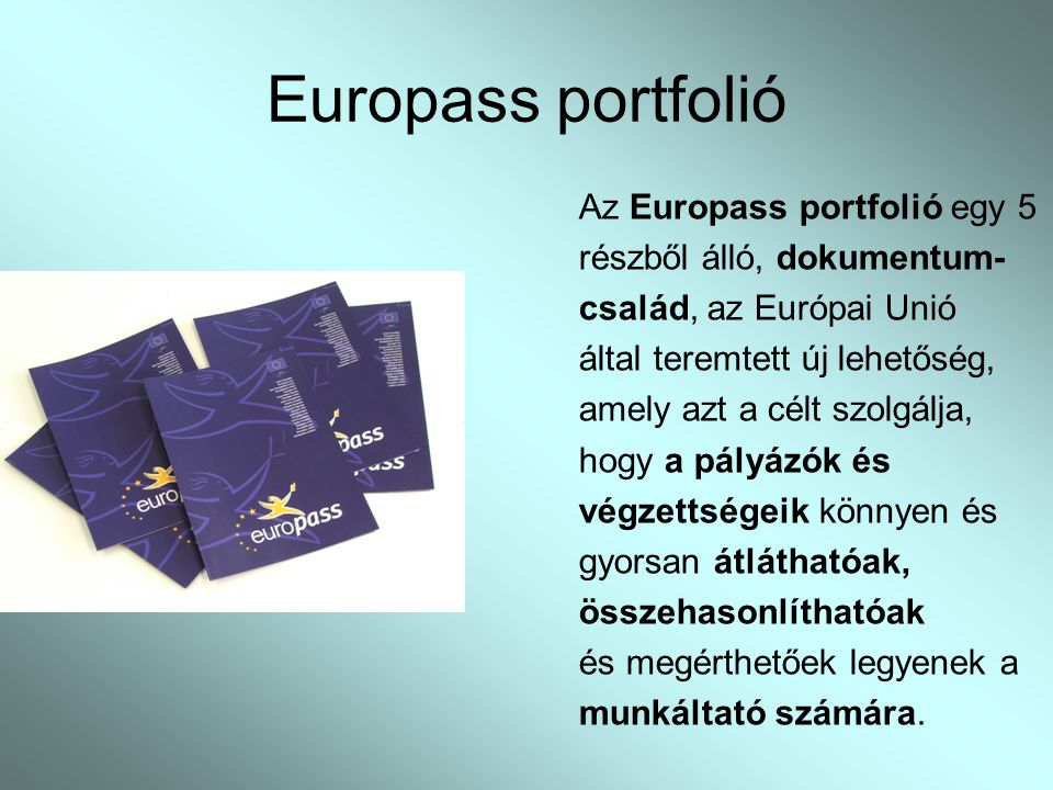 Europass portfolió Az Europass portfolió egy 5 részből álló, dokumentum- család, az Európai Unió által teremtett új lehetőség, amely azt a célt szolgálja, hogy a pályázók és végzettségeik könnyen és gyorsan átláthatóak, összehasonlíthatóak és megérthetőek legyenek a munkáltató számára.
