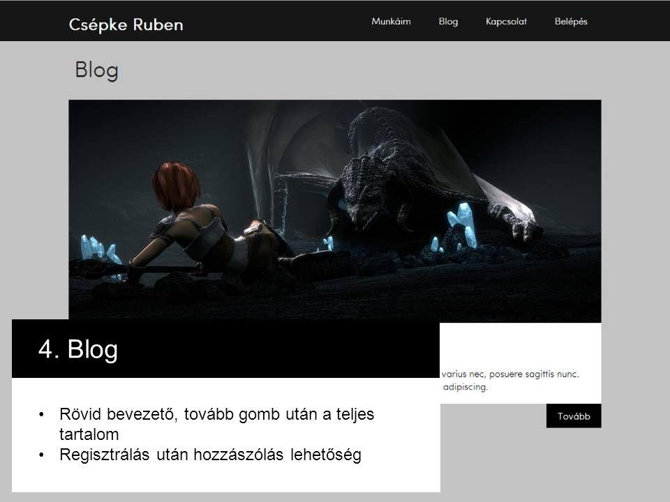 4. Blog Rövid bevezető, tovább gomb után a teljes tartalom Regisztrálás után hozzászólás lehetőség