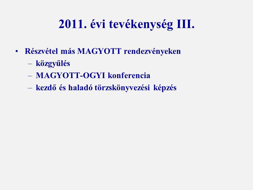 2011. évi tevékenység III. Részvétel más MAGYOTT rendezvényeken –közgyűlés –MAGYOTT-OGYI konferencia –kezdő és haladó törzskönyvezési képzés