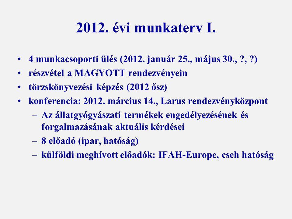 2012. évi munkaterv I. 4 munkacsoporti ülés (2012. január 25., május 30., ?, ?) részvétel a MAGYOTT rendezvényein törzskönyvezési képzés (2012 ősz) ko