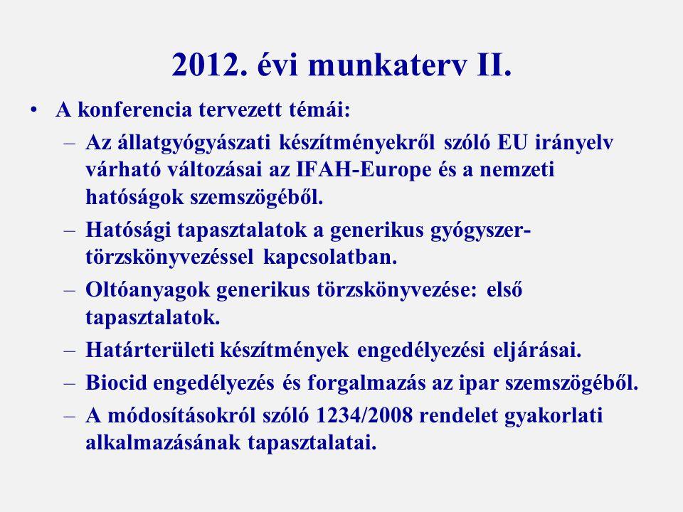 2012. évi munkaterv II. A konferencia tervezett témái: –Az állatgyógyászati készítményekről szóló EU irányelv várható változásai az IFAH-Europe és a n