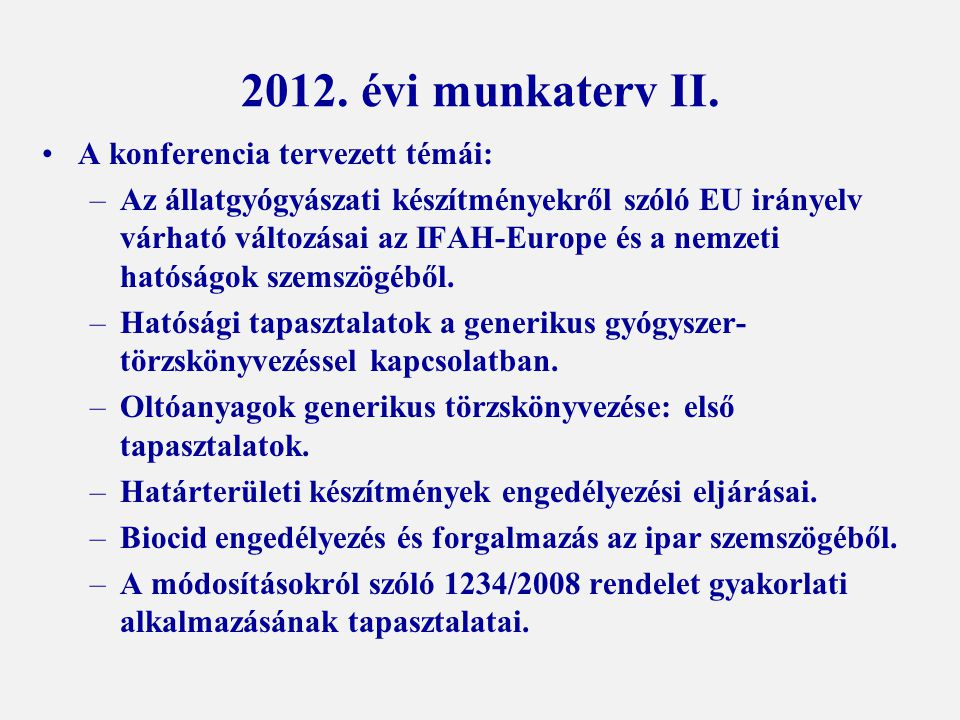 2012. évi munkaterv II.