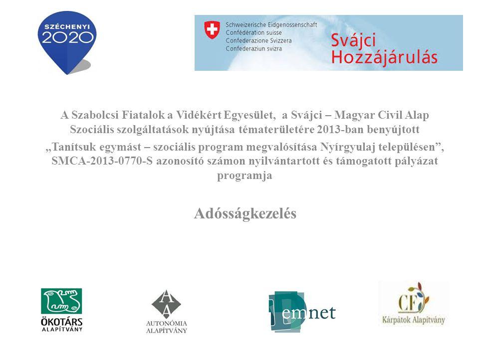 """A Szabolcsi Fiatalok a Vidékért Egyesület, a Svájci – Magyar Civil Alap Szociális szolgáltatások nyújtása tématerületére 2013-ban benyújtott """"Tanítsuk egymást – szociális program megvalósítása Nyírgyulaj településen , SMCA-2013-0770-S azonosító számon nyilvántartott és támogatott pályázat programja Adósságkezelés"""