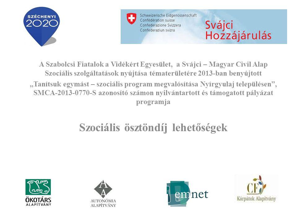 """A Szabolcsi Fiatalok a Vidékért Egyesület, a Svájci – Magyar Civil Alap Szociális szolgáltatások nyújtása tématerületére 2013-ban benyújtott """"Tanítsuk egymást – szociális program megvalósítása Nyírgyulaj településen , SMCA-2013-0770-S azonosító számon nyilvántartott és támogatott pályázat programja Szociális ösztöndíj lehetőségek"""
