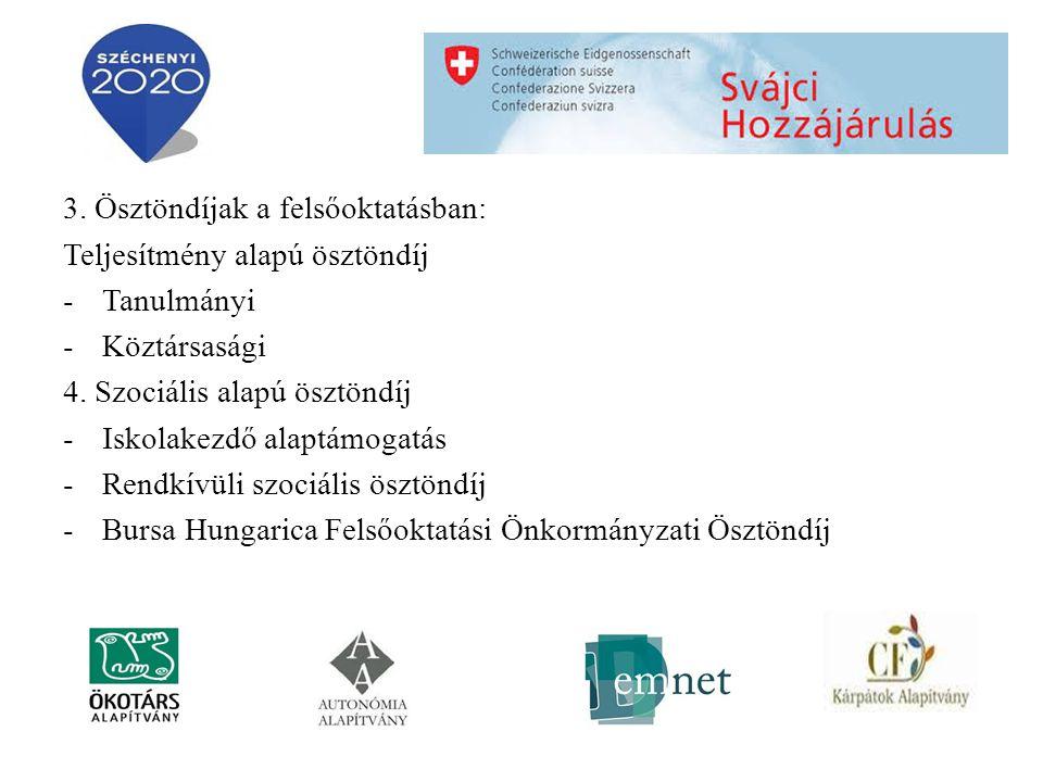 3. Ösztöndíjak a felsőoktatásban: Teljesítmény alapú ösztöndíj -Tanulmányi -Köztársasági 4.