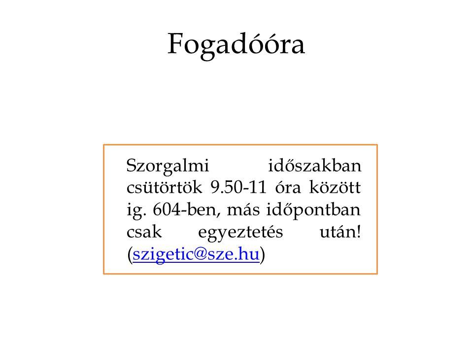 Fogadóóra Szorgalmi időszakban csütörtök 9.50-11 óra között ig.