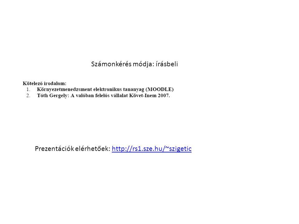 Prezentációk elérhetőek: http://rs1.sze.hu/~szigetichttp://rs1.sze.hu/~szigetic Számonkérés módja: írásbeli