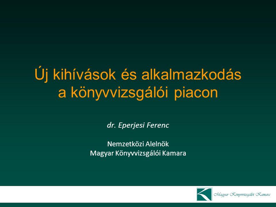 A magyar könyvvizsgálati piac néhány jellemzője 2010 2011 20122013 aktív3335 3247 30962978 szüneteltető2291 2282 22792280 összesen5626 5529 53755258 könyvvizsgáló társaságok száma1940 3221 31193043 1 könyvvizsgáló társaságra jutó aktív0,58 0,99 11,02