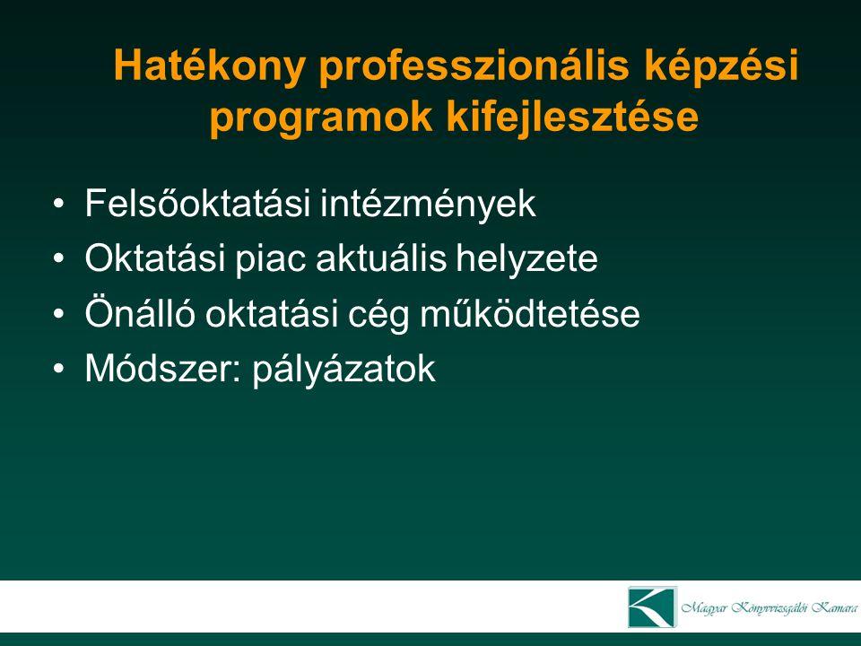 Hatékony professzionális képzési programok kifejlesztése Felsőoktatási intézmények Oktatási piac aktuális helyzete Önálló oktatási cég működtetése Mód
