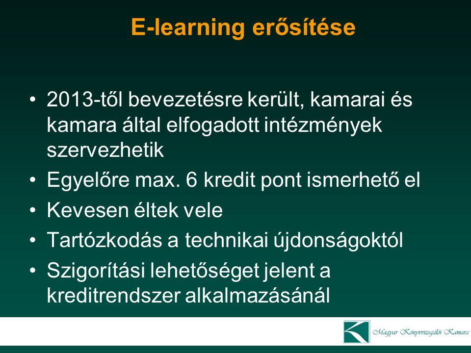 E-learning erősítése 2013-től bevezetésre került, kamarai és kamara által elfogadott intézmények szervezhetik Egyelőre max. 6 kredit pont ismerhető el