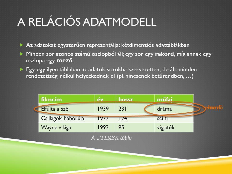 A RELÁCIÓS ADATMODELL  Az adatokat egyszerűen reprezentálja: kétdimenziós adattáblákban  Minden sor azonos számú oszlopból áll; egy sor egy rekord,