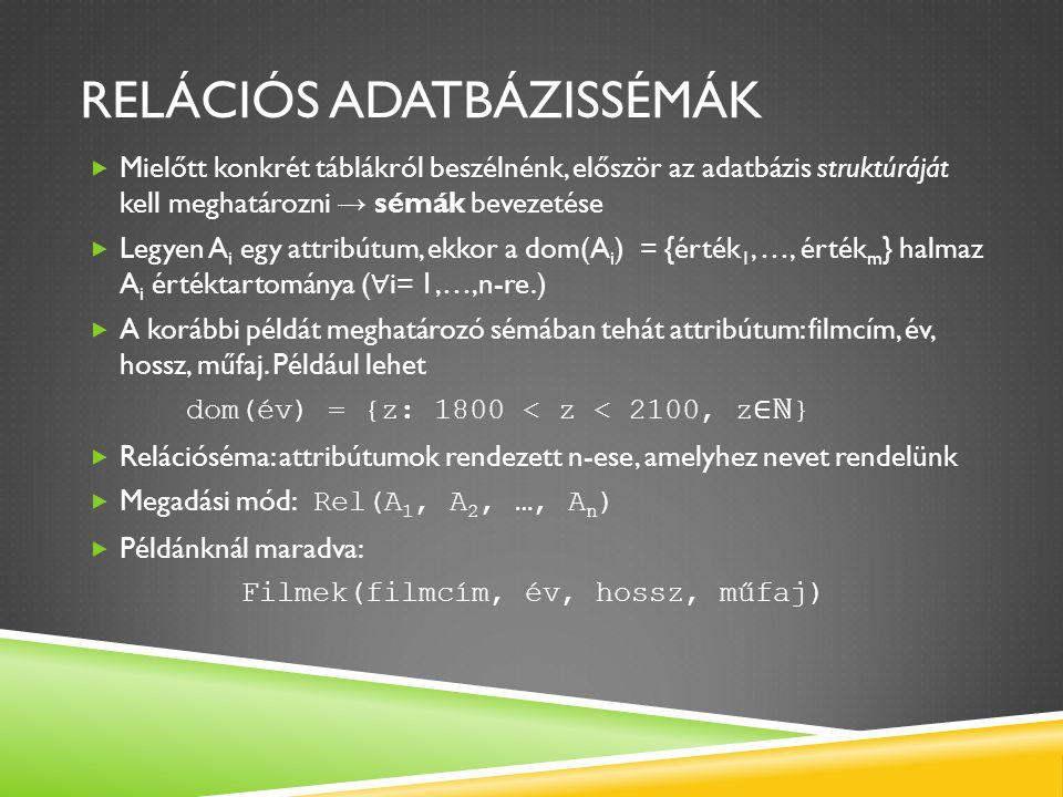 RELÁCIÓS ADATBÁZISSÉMÁK  Egy adatbázis egy vagy több ilyen sémán alapul a relációs modellben.
