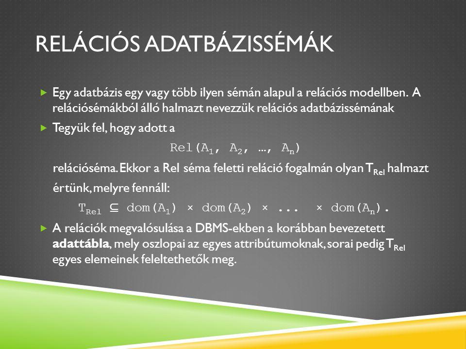 RELÁCIÓS ADATBÁZISSÉMÁK  Egy adatbázis egy vagy több ilyen sémán alapul a relációs modellben. A relációsémákból álló halmazt nevezzük relációs adatbá