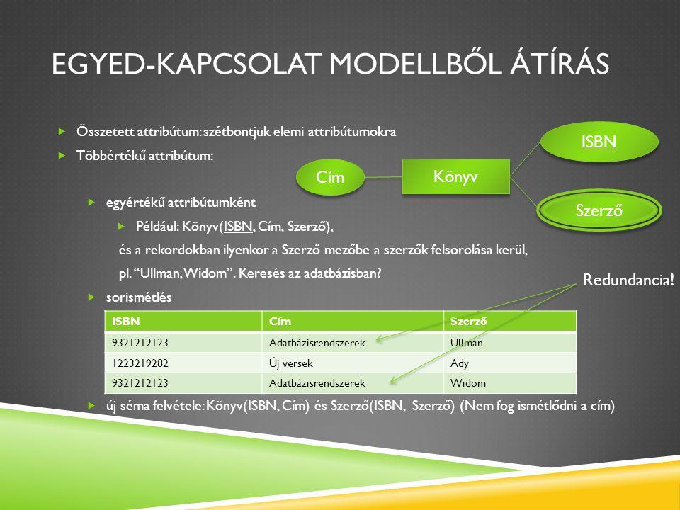 EGYED-KAPCSOLAT MODELLBŐL ÁTÍRÁS  Összetett attribútum: szétbontjuk elemi attribútumokra  Többértékű attribútum:  egyértékű attribútumként  Példáu