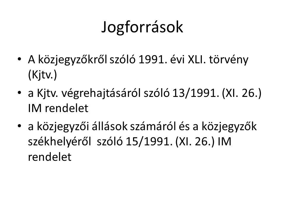 Jogforrások A közjegyzőkről szóló 1991.évi XLI. törvény (Kjtv.) a Kjtv.