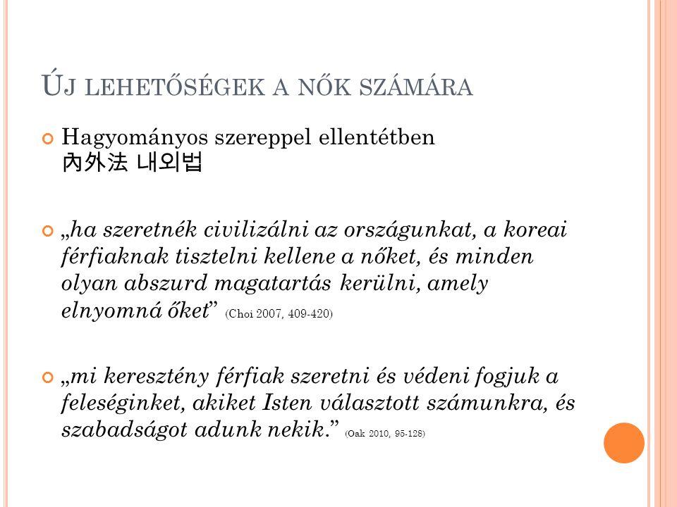 """Ú J LEHETŐSÉGEK A NŐK SZÁMÁRA Hagyományos szereppel ellentétben 內外法 내외법 """" ha szeretnék civilizálni az országunkat, a koreai férfiaknak tisztelni kelle"""