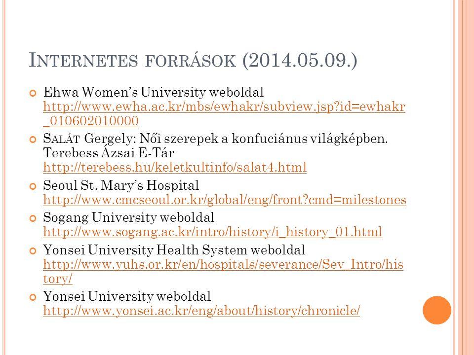 I NTERNETES FORRÁSOK (2014.05.09.) Ehwa Women's University weboldal http://www.ewha.ac.kr/mbs/ewhakr/subview.jsp?id=ewhakr _010602010000 http://www.ew