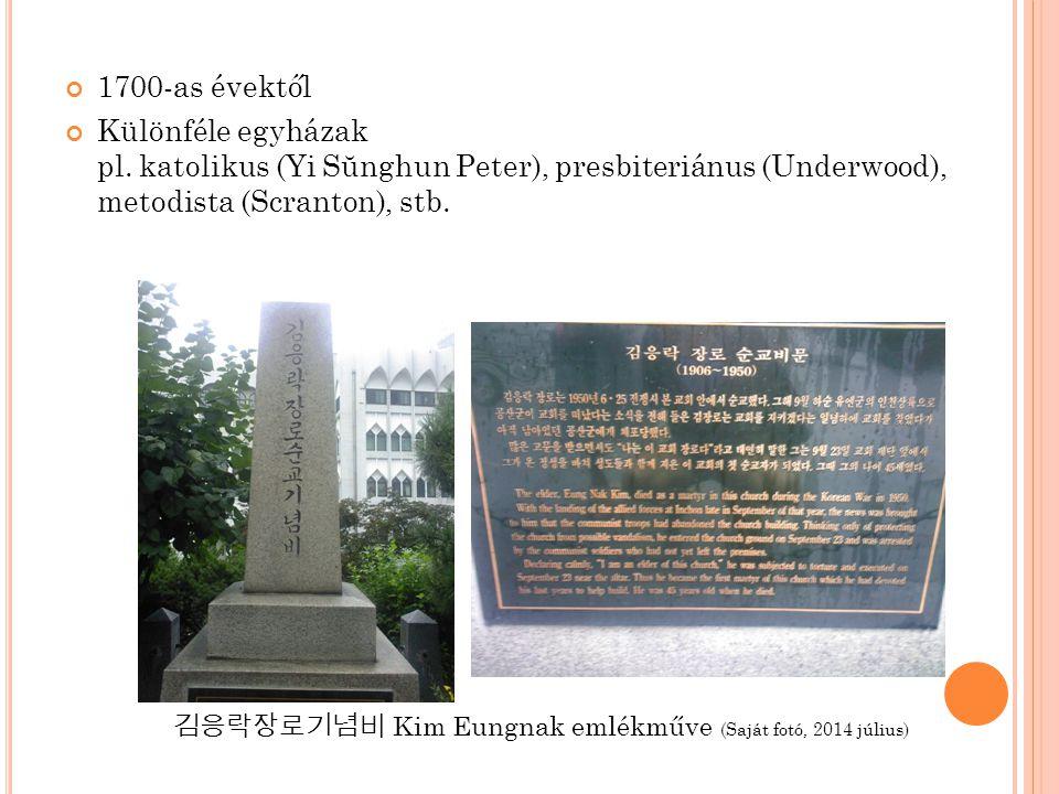 1700-as évektől Különféle egyházak pl. katolikus (Yi Sŭnghun Peter), presbiteriánus (Underwood), metodista (Scranton), stb. 김응락장로기념비 Kim Eungnak emlék