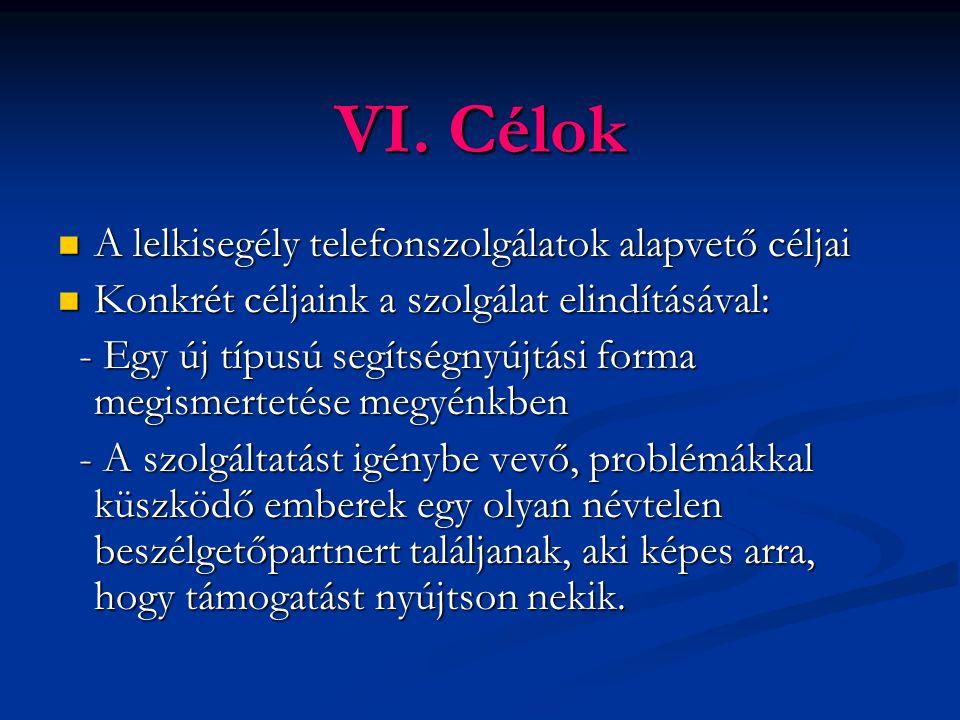 VI. Célok A lelkisegély telefonszolgálatok alapvető céljai A lelkisegély telefonszolgálatok alapvető céljai Konkrét céljaink a szolgálat elindításával