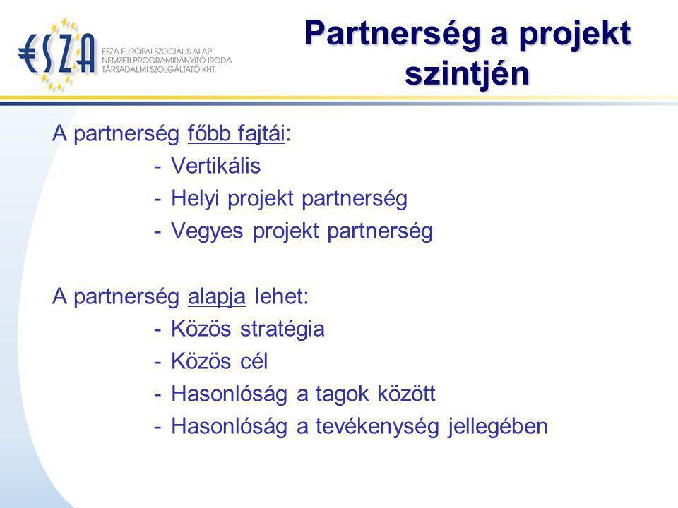 Partnerség a projekt szintjén A partnerség főbb fajtái: -Vertikális -Helyi projekt partnerség -Vegyes projekt partnerség A partnerség alapja lehet: -K