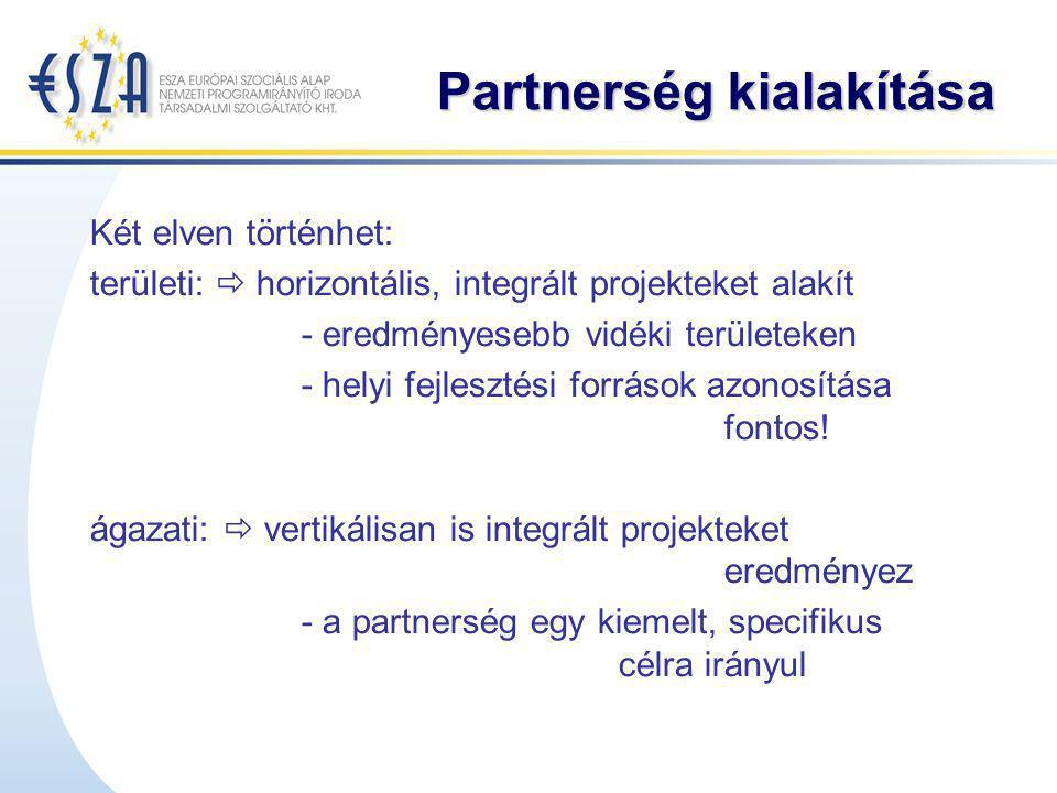Partnerség kialakítása Két elven történhet: területi:  horizontális, integrált projekteket alakít - eredményesebb vidéki területeken - helyi fejleszt