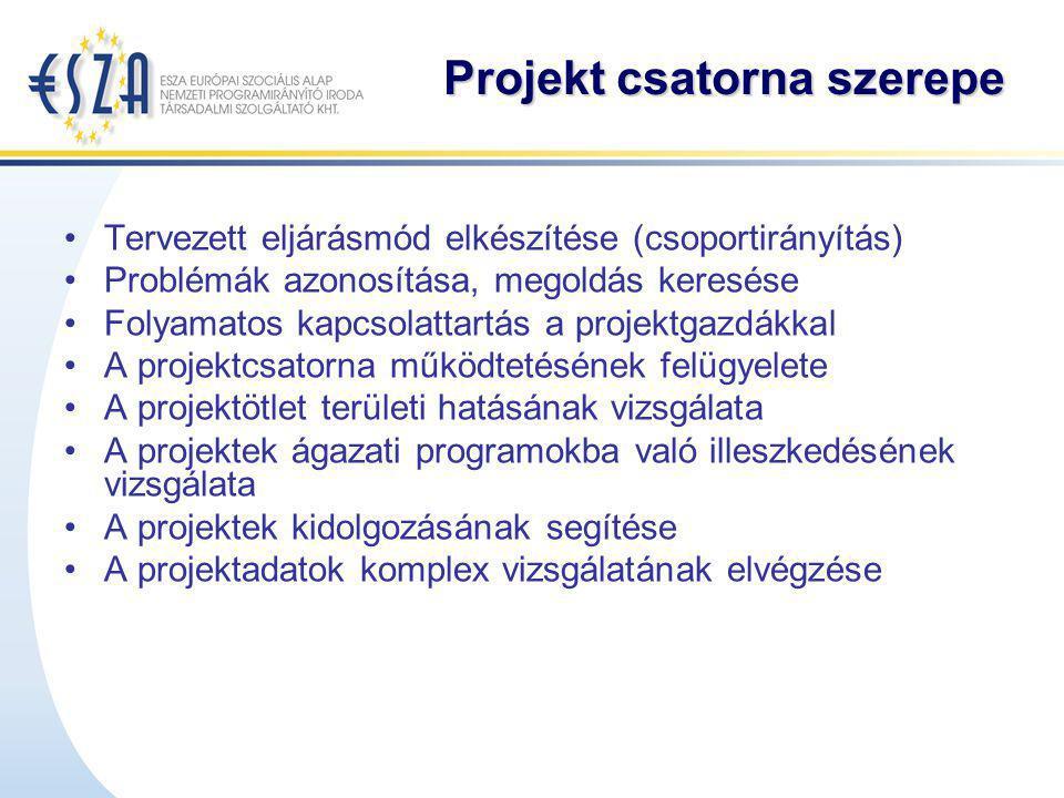 Projekt csatorna szerepe Tervezett eljárásmód elkészítése (csoportirányítás) Problémák azonosítása, megoldás keresése Folyamatos kapcsolattartás a pro