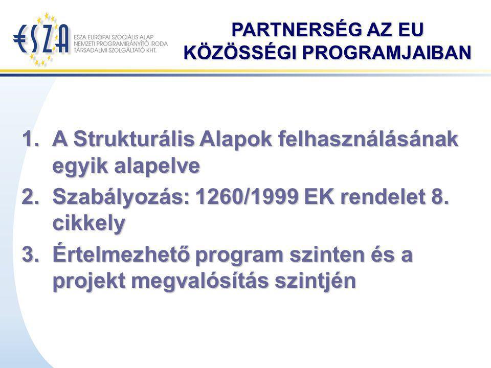 Partnerség kialakítása Két elven történhet: területi:  horizontális, integrált projekteket alakít - eredményesebb vidéki területeken - helyi fejlesztési források azonosítása fontos.