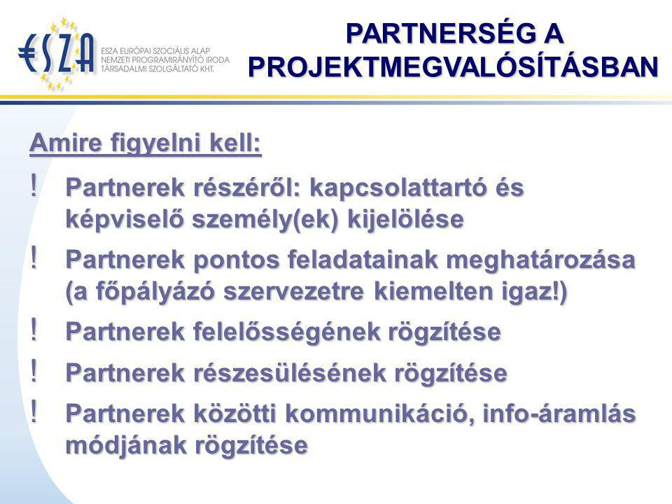 PARTNERSÉG A PROJEKTMEGVALÓSÍTÁSBAN ! Partnerek részéről: kapcsolattartó és képviselő személy(ek) kijelölése ! Partnerek pontos feladatainak meghatáro