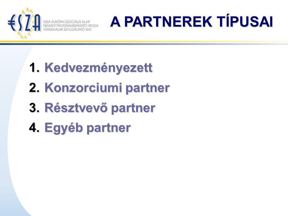 A PARTNEREK TÍPUSAI 1.Kedvezményezett 2.Konzorciumi partner 3.Résztvevő partner 4.Egyéb partner