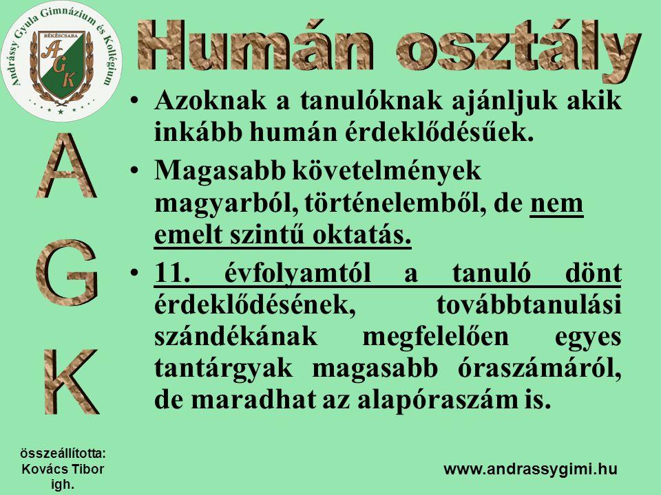 összeállította: Kovács Tibor igh. www.andrassygimi.hu Azoknak a tanulóknak ajánljuk akik inkább humán érdeklődésűek. Magasabb követelmények magyarból,