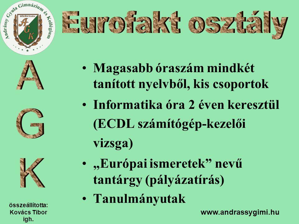 összeállította: Kovács Tibor igh. www.andrassygimi.hu Magasabb óraszám mindkét tanított nyelvből, kis csoportok Informatika óra 2 éven keresztül (ECDL