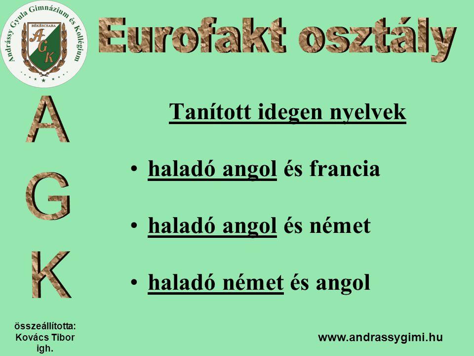 összeállította: Kovács Tibor igh. www.andrassygimi.hu Tanított idegen nyelvek haladó angol és francia haladó angol és német haladó német és angol