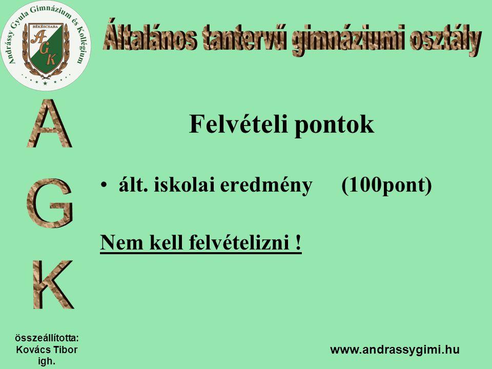 összeállította: Kovács Tibor igh. www.andrassygimi.hu Felvételi pontok ált. iskolai eredmény (100pont) Nem kell felvételizni !