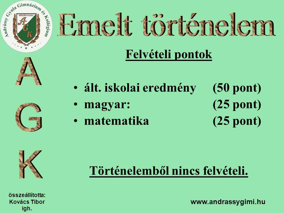 összeállította: Kovács Tibor igh. www.andrassygimi.hu Felvételi pontok ált. iskolai eredmény (50 pont) magyar:(25 pont) matematika(25 pont) Történelem