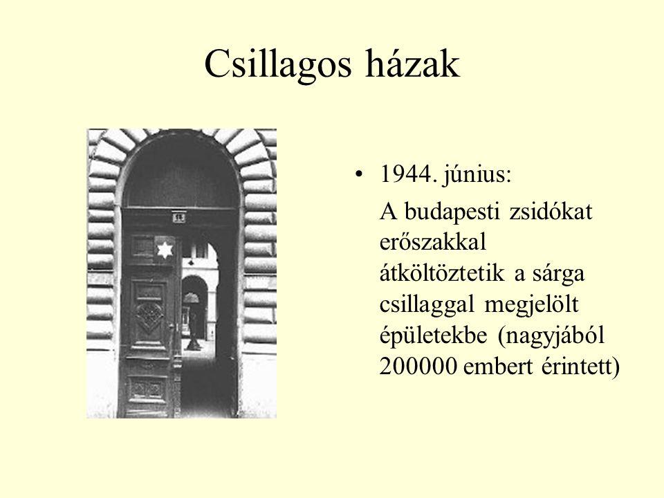 Csillagos házak 1944. június: A budapesti zsidókat erőszakkal átköltöztetik a sárga csillaggal megjelölt épületekbe (nagyjából 200000 embert érintett)