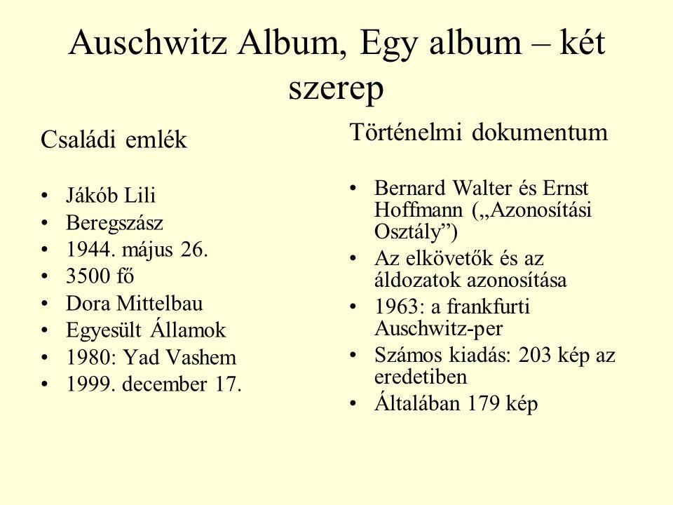 Auschwitz Album, Egy album – két szerep Családi emlék Jákób Lili Beregszász 1944. május 26. 3500 fő Dora Mittelbau Egyesült Államok 1980: Yad Vashem 1