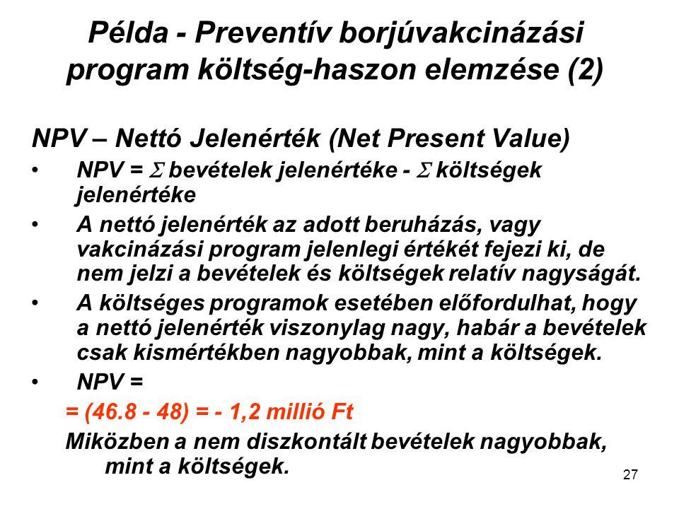 Példa - Preventív borjúvakcinázási program költség-haszon elemzése (2) NPV – Nettó Jelenérték (Net Present Value) NPV =  bevételek jelenértéke -  kö